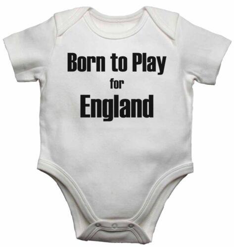 Né à jouer pour ANGLETERRE-nouveau personnalisé bébé gilets bodysuits pour garçons filles