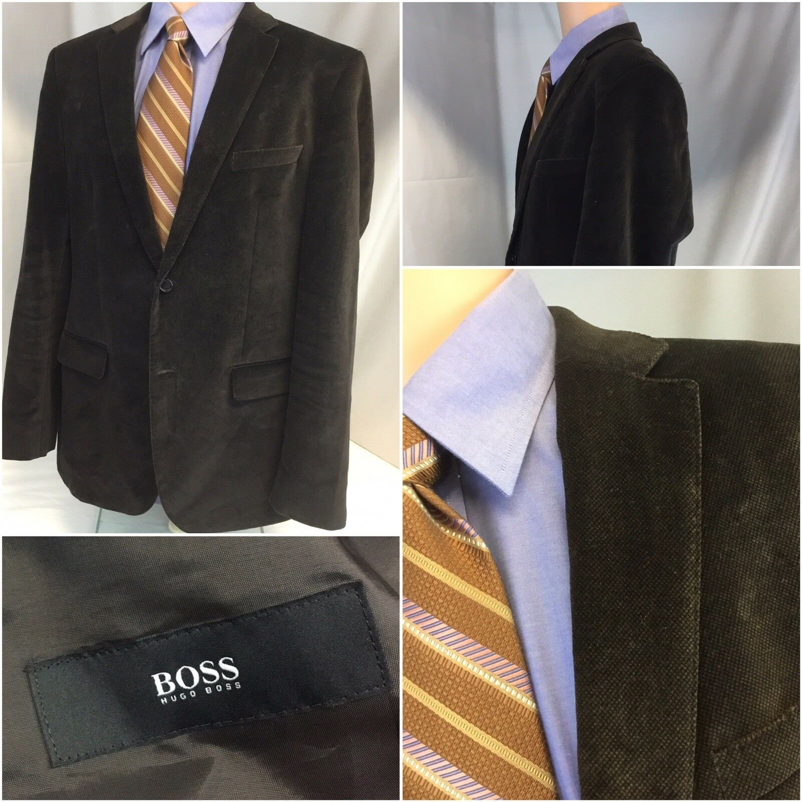 Hugo Boss Blazer 42R Braun Cord Cotton 2b 1v Turkey 42 R Worn Once YGI J8-201