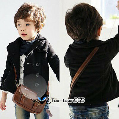 Spring Autumn Baby Child Toddlers Kids Boys V Neck Woolen Suit Coat Jackets 2-8Y