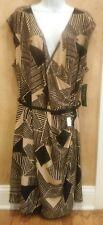 NWT Retail $165 Ralph Lauren Women's Black Tan Faux Wrap Dress Plus Size 2X