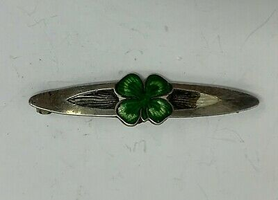Sterling Silver With Green Enamel  Four Leaf Clover Award Pin Vintage Collectible Sterling Silver 4H Pin Fourth Award