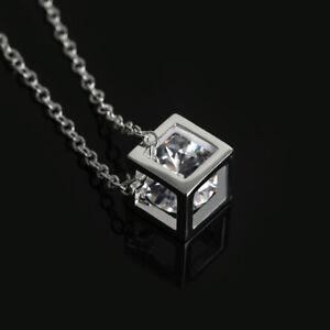 Weihnachten-Silberkette-Wuerfel-Anhaenger-Hohl-Kristall-Halskette