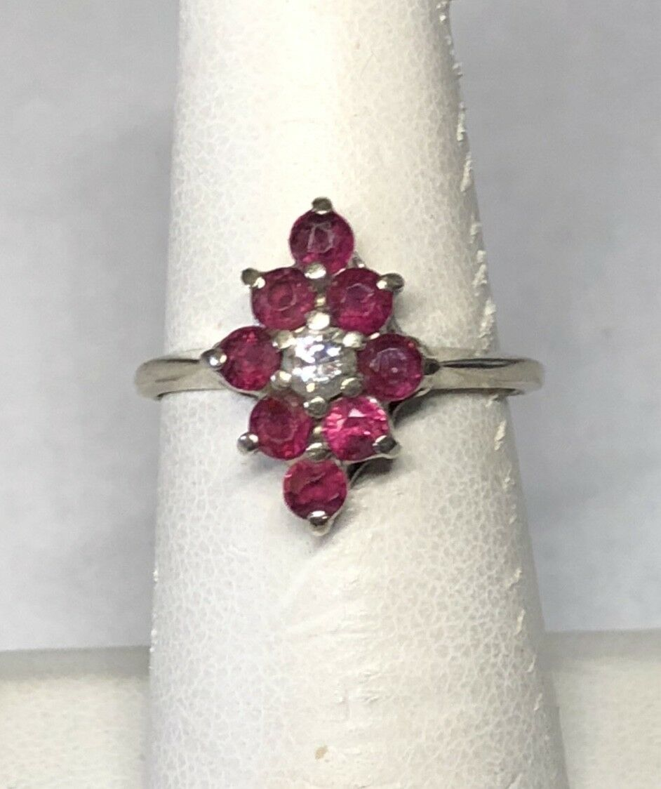 Estate Sale 14 Karat White gold Genuine Ruby & Diamond Ladies Cluster Ring
