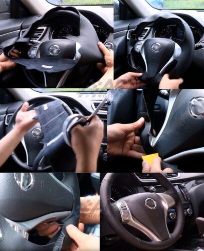 perforado Funda de volante para Hyundai Tucson 05-08 realizado en cuero liso