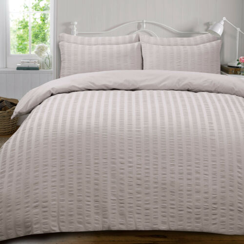 Seersucker Duvet Cover with Pillowcase Bedding Set White Silver Grey Charcoal