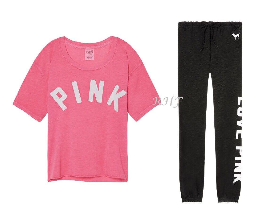 Victoria's Secret rose Campus Pantalon Pantalon SurvêteHommest & Rétrécie T-Shirt