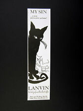 1965 Lanvin My Sin Perfume black cat white kittens art vintage print Ad