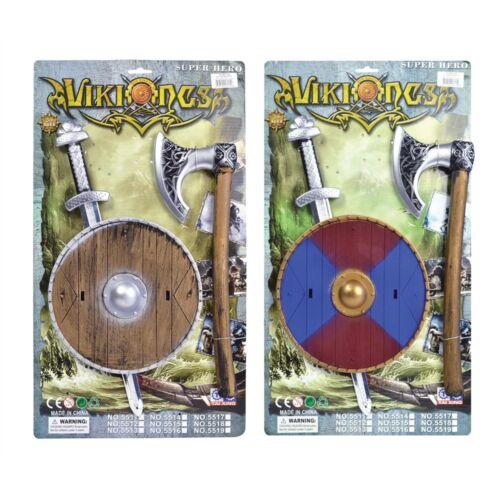 Bouclier /& Axe Set-Kids Fancy Dress Épée Guerrier Saxon Viking épée en plastique