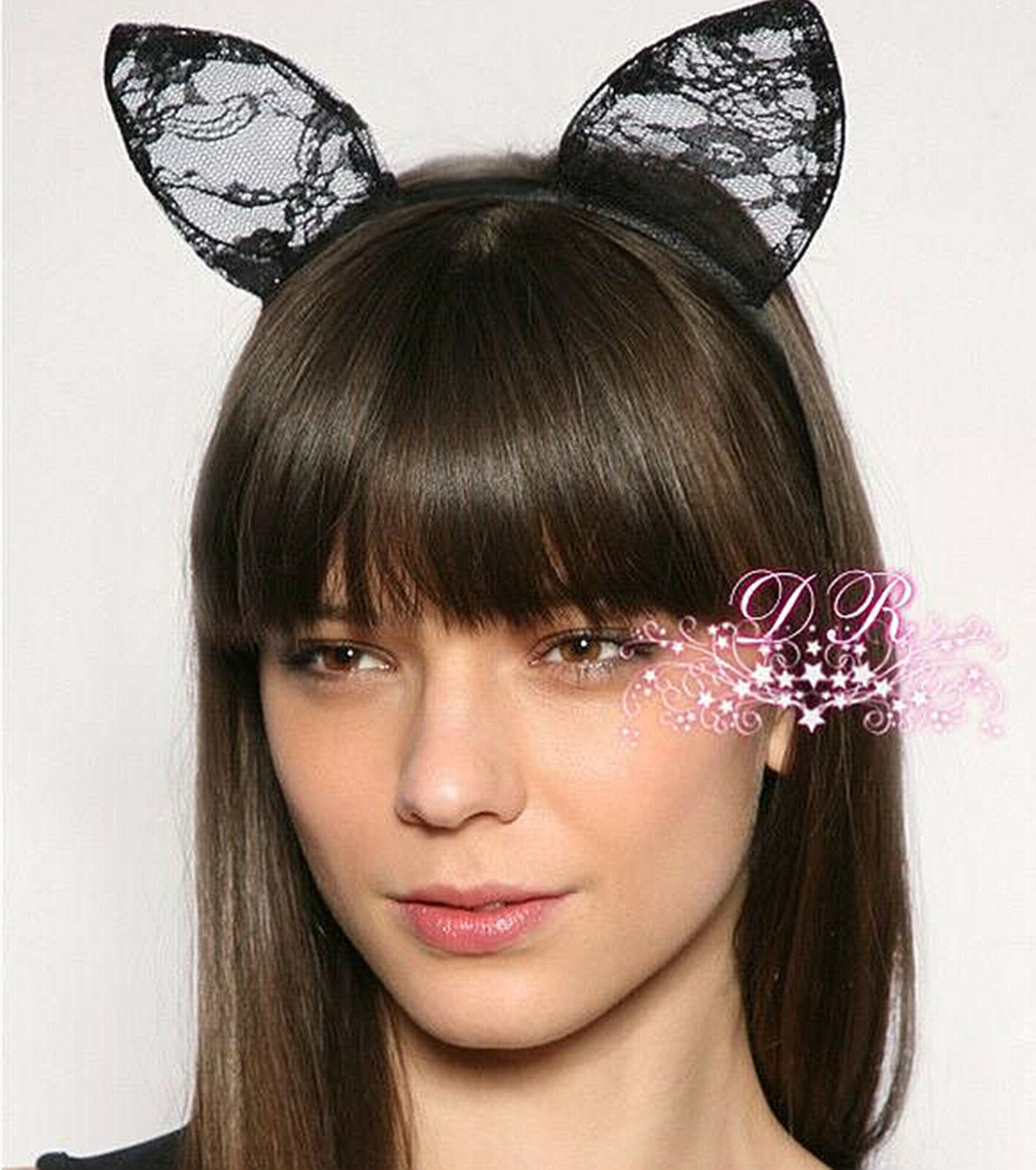 Women Lady Girl Kids Cute Cat Kitty Costume Ear Party Lace Hair Head Band PropJH
