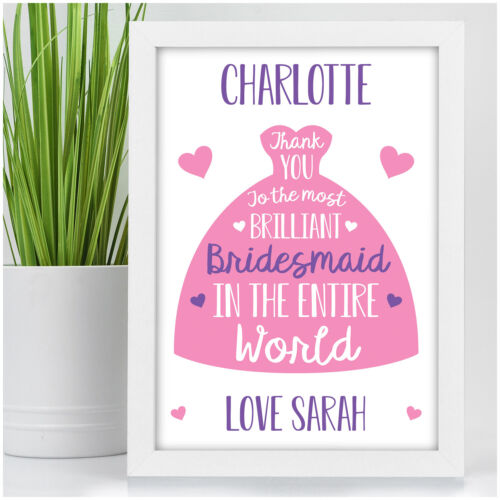 PERSONALISED Brilliant Bridesmaid Flower Girl Maid of Honour Thank You Gifts