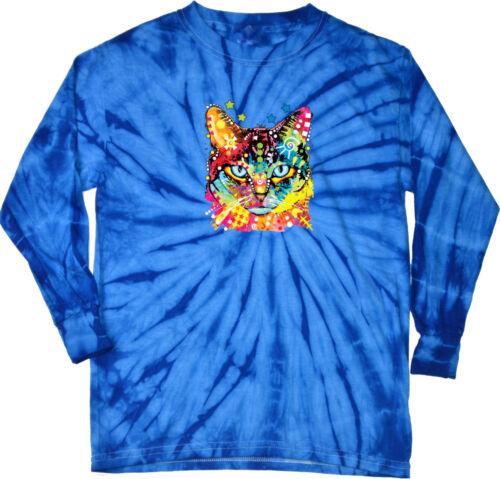 Cat T-shirt Blue Eyes Tie Dye Long Sleeve
