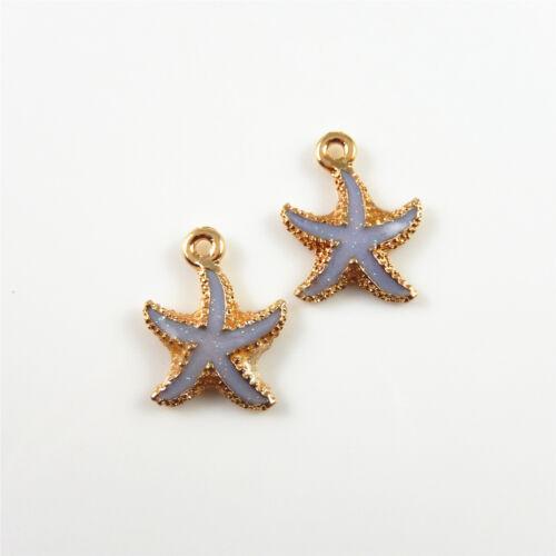 30 Stk Mehrfarben Emaille Gold Legierung Seestern Form Anhänger Schmuck Handwerk