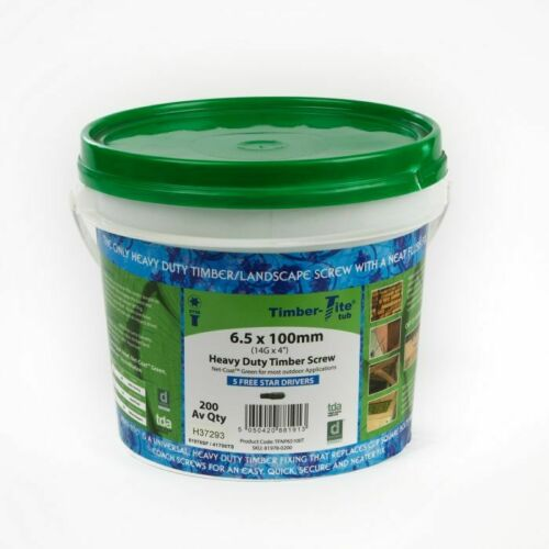 Tub of 200 Timber-Tite® 6.5 x 100mm Newall Post//Joist Screw Net Green Coating