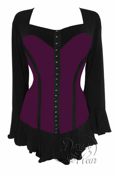Dare to Wear Victorian Gothic Plus Größe Corsetta Top in Plum lila