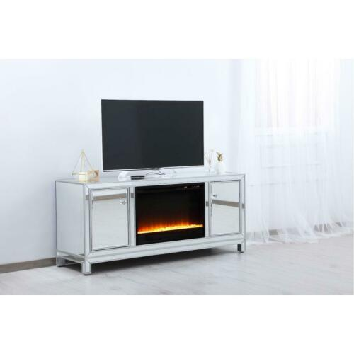 """MIRRORED TV STAND WITH CRYSTAL FIREPLACE INSERT COMBO CABINET ANTIQUE SILVER 60/"""""""