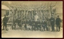 209 - REAL PHOTO POSTCARD 1910s Deer Hunting in Winter. Rifles. Dogs