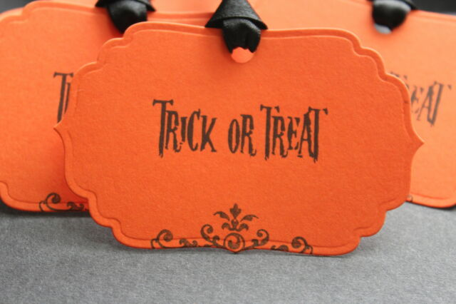 TRICK OR TREAT-Tags-Party-Halloween-Unique Design-Set of 6-Handmade for You