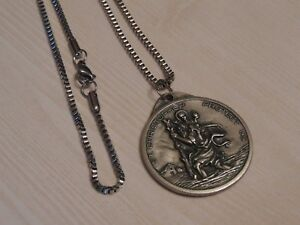 Saint-Christopher-Large-Medallion-Medal-Necklace-Stainless-Steel-Box-Chain-60cm