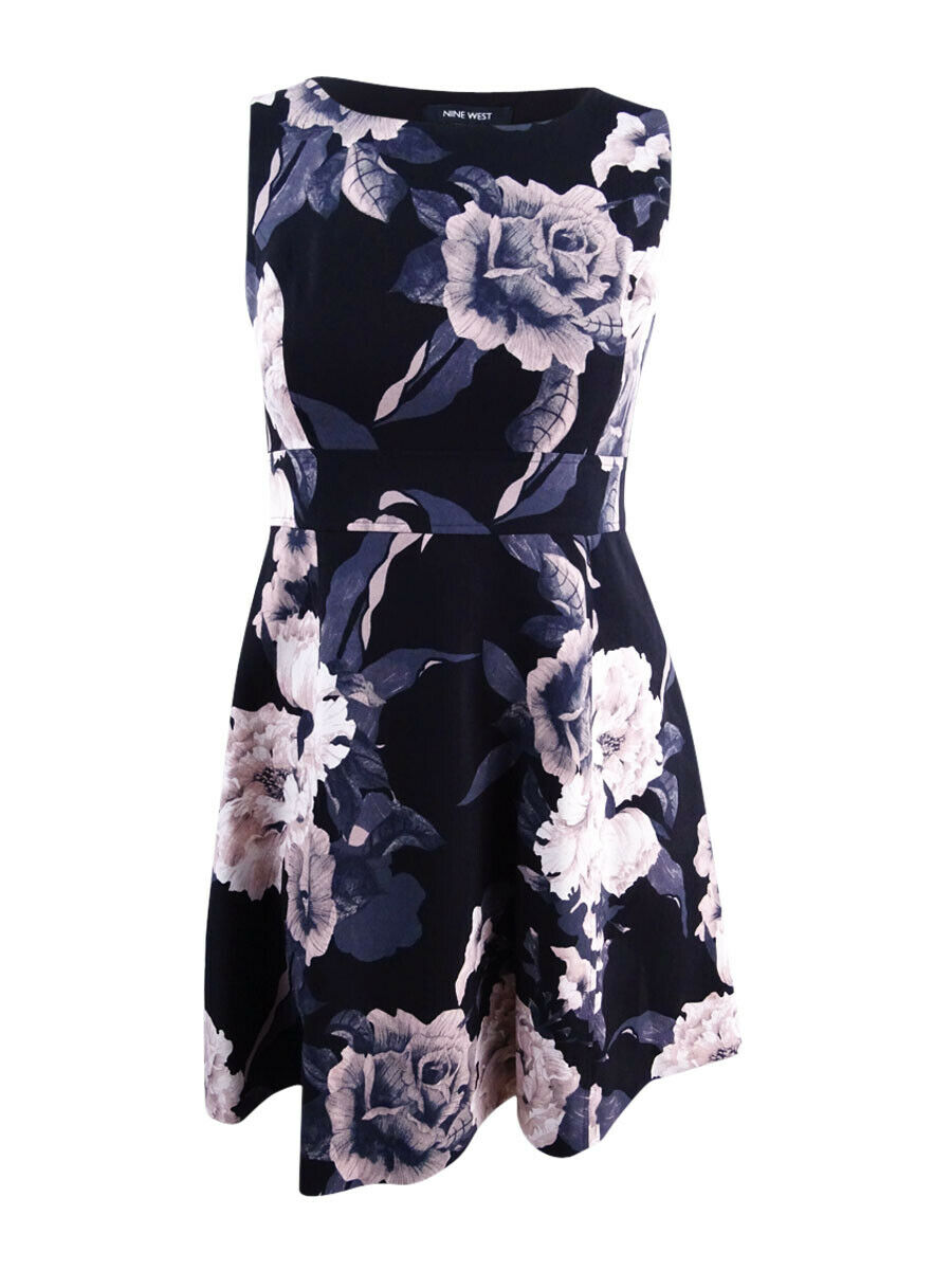 Nine West Women's Floral-Print Fit & Flare Dress (10, Cameo Multi)