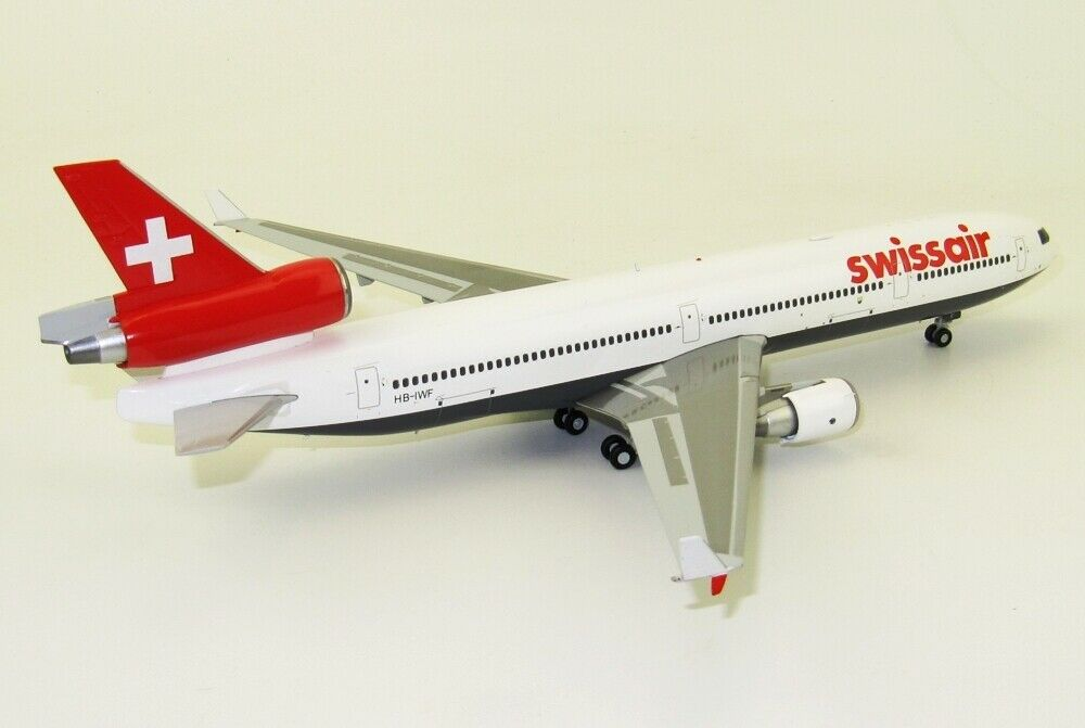 JC WINGS WINGS WINGS LH2125 1 200 SWISSAIR MCDONNELL DOUGLAS MD-11 HB-IWF WITH STAND 003ed8
