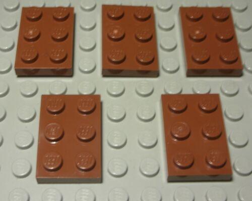 91 LEGO Plaque 2x3 New Marron 5 pièce