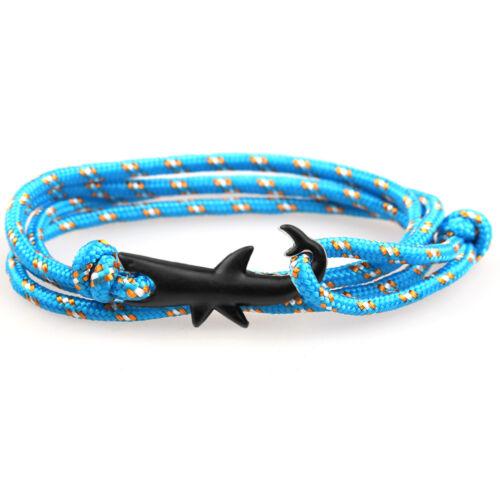 Nylon Rope Wrap Sailing Bracelet With Black Color Nautical Shark Alloy Clasp