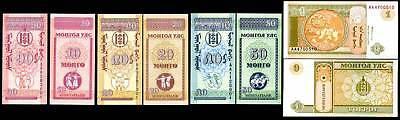 Just Mongolia Set 4 Pcs 10 20 50 1 Mongo-tugrik 1993 P 49 50 51 52 Unc Shrink-Proof