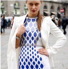 New David Koma White Blue Print Stretch Dress uk 6-8