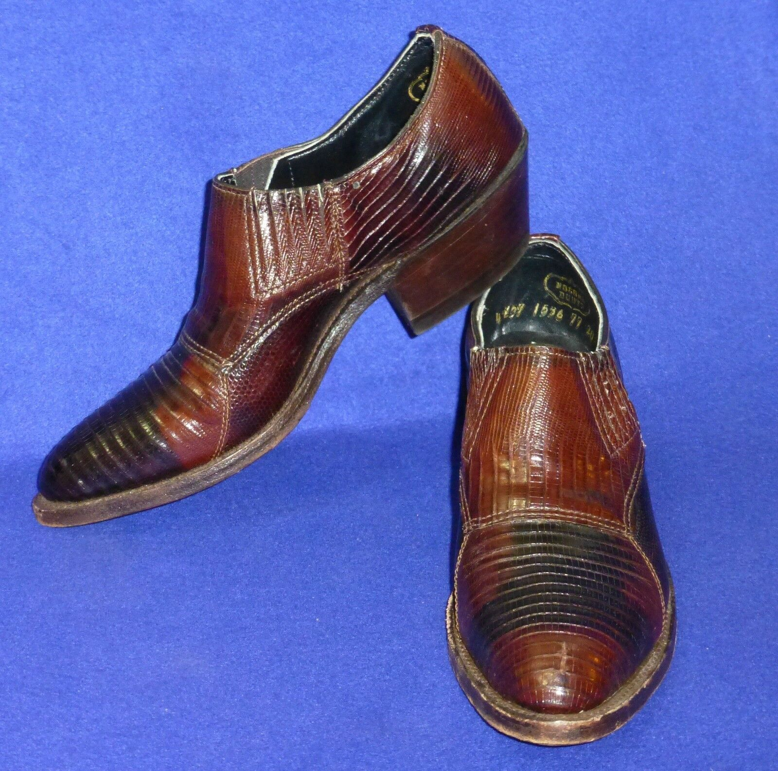 RARE 5 B VINTAGE NOCONA LIZARD BROWN WOMENS ANKLE COWBOY BOOTS SHOES