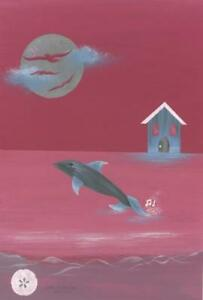 ART NOUVEAU PINK SILVER DOLPHIN SAND DOLLAR NAUTICAL SEA OCEAN COTTAGE PAINTING