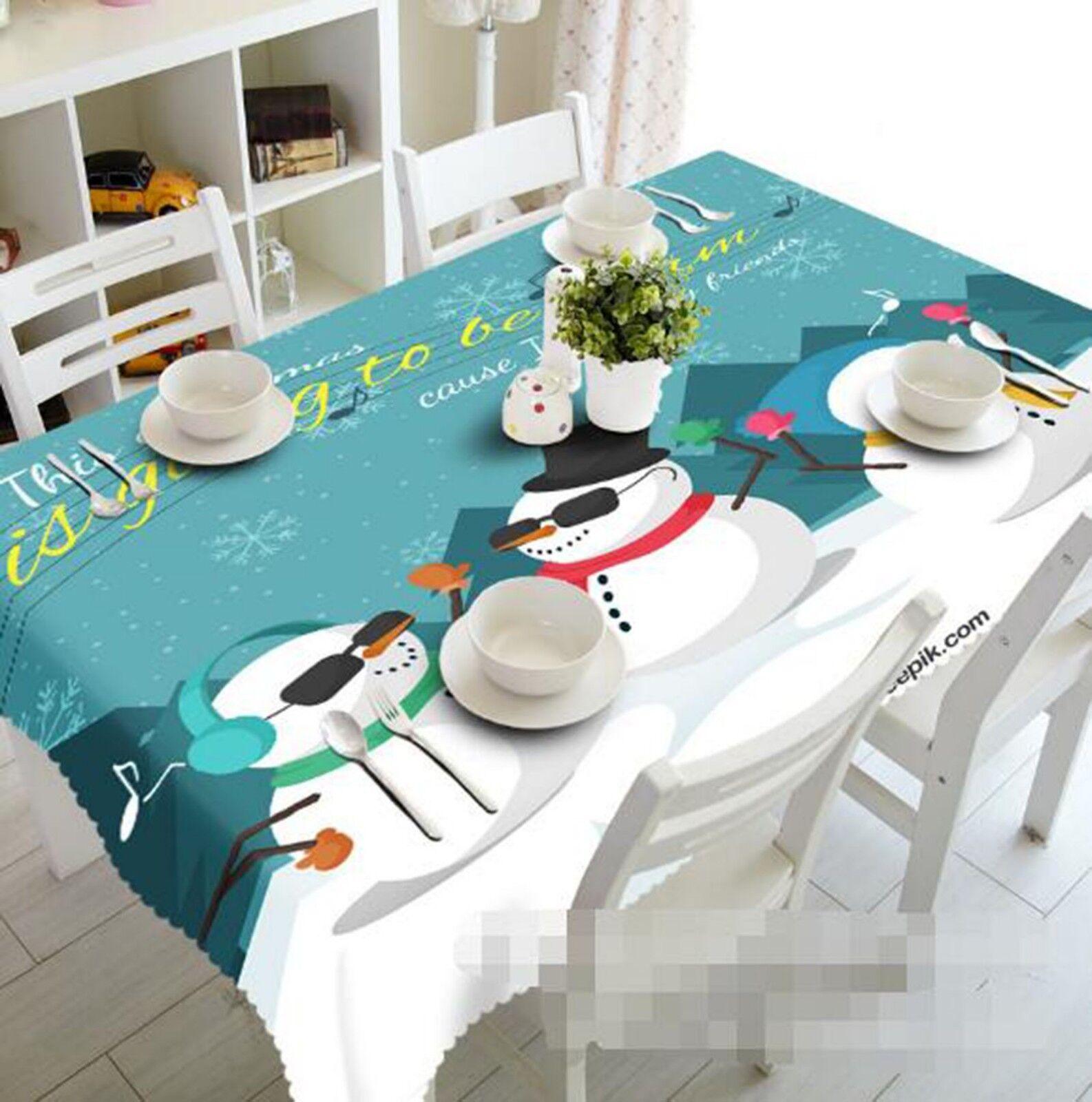 3D Snowman blanc 024 Tablecloth Table Cover Cloth Birthday Party Event AJ Lemon