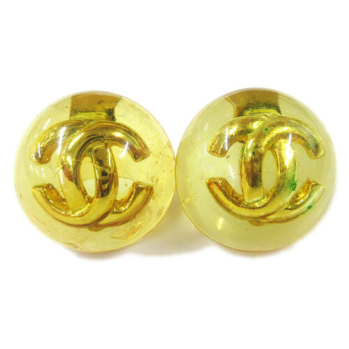 CHANEL CC Logos Button Motif Earrings Orange Clip-
