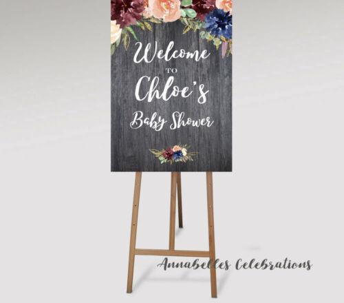 Printable Welcome Sign Gender Reveal Baby Shower Burgundy Blue Rustic Wood