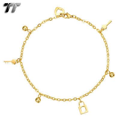 an19j Honey Tt 18k Gold Gp Stainless Steel Dangle Locker & Key Chain Anklet New