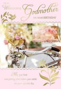 Image Is Loading Wonderful Godmother On Your Birthday Flowers Amp Bike