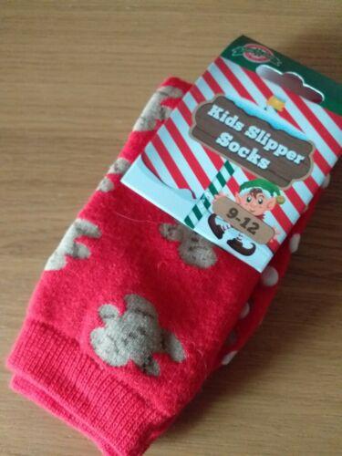 Winter Gingerbread Man Slipper socks  girls boys shoe size 9-12