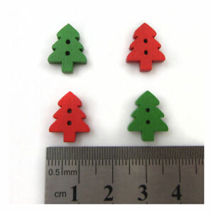 20-x-CHRISTMAS-TREE-WOODEN-BUTTONS-15mm-FESTIVE-COLOURFUL-SEWING-SEW-ON-XMAS