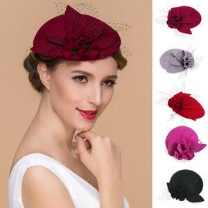 Womens-Formal-Floral-Wool-Felt-Fascinators-Cocktail-Party-Royal-Ascot-Hats-A044