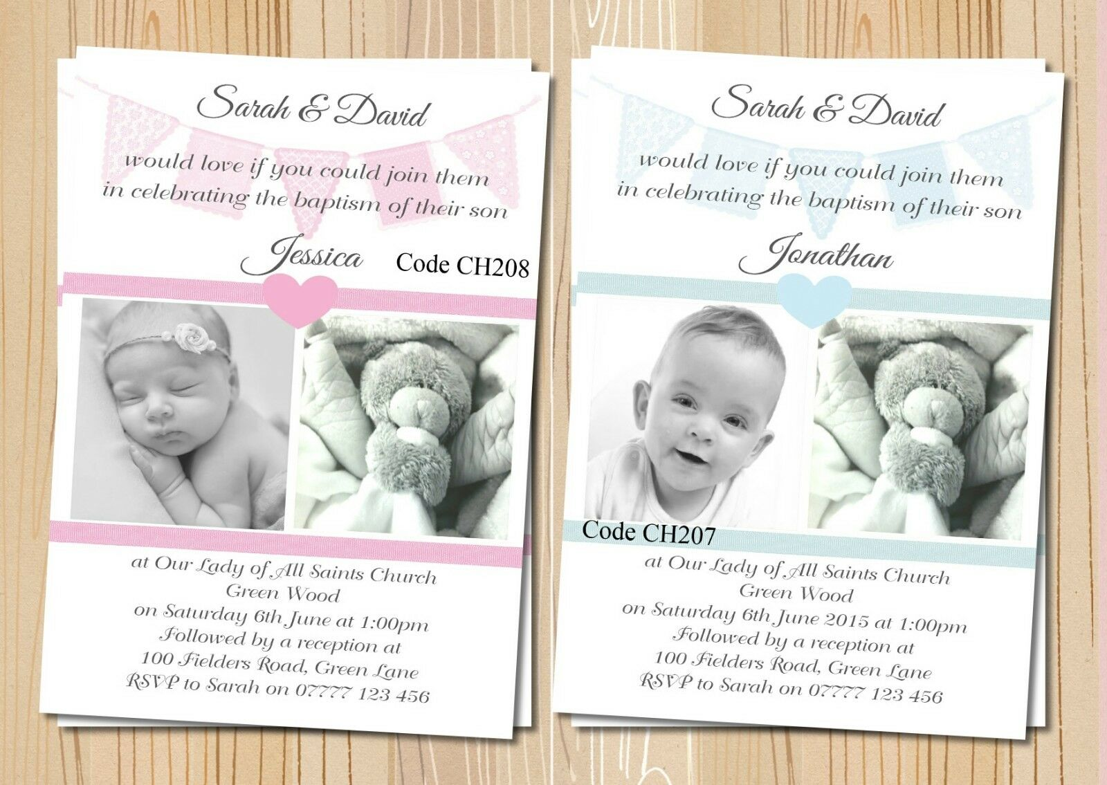 Christening Baptism Girl & Boy Multi Invitations Cards With Free Envelopes