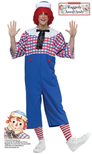 Raggedy Andy Mens Adult Toy Doll Funny Halloween Costume-STD