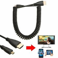 Coiled 1.4V Micro HDMI Type D Male to HDMI Male M/M Converter Adapter Cable