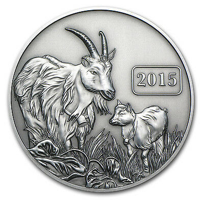 2015 Tokelau 1 oz Silver $5 Year of the Goat Antique Coin - SKU #84376