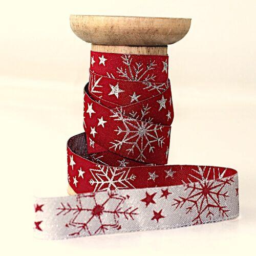 Webband Bordüre Borte Weihnachten Weihnachtsband 15 mm Glitzerkristalle