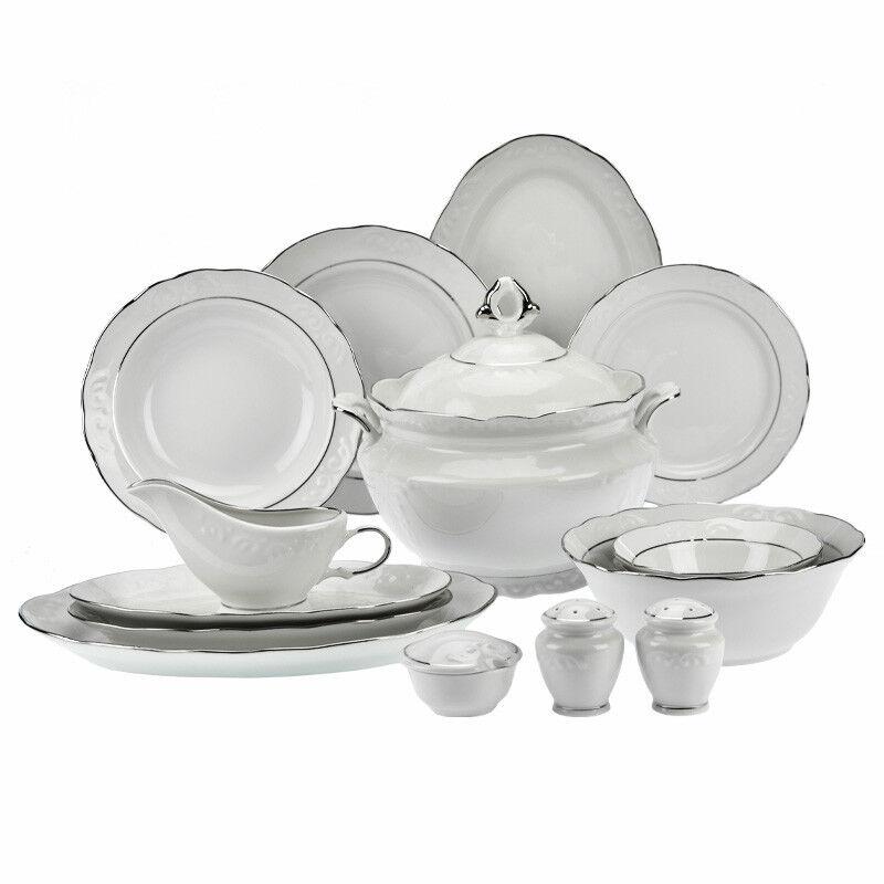 49 Pièces En Porcelaine Service De Table Vaisselle Ligne D'Silber  12 Personnes