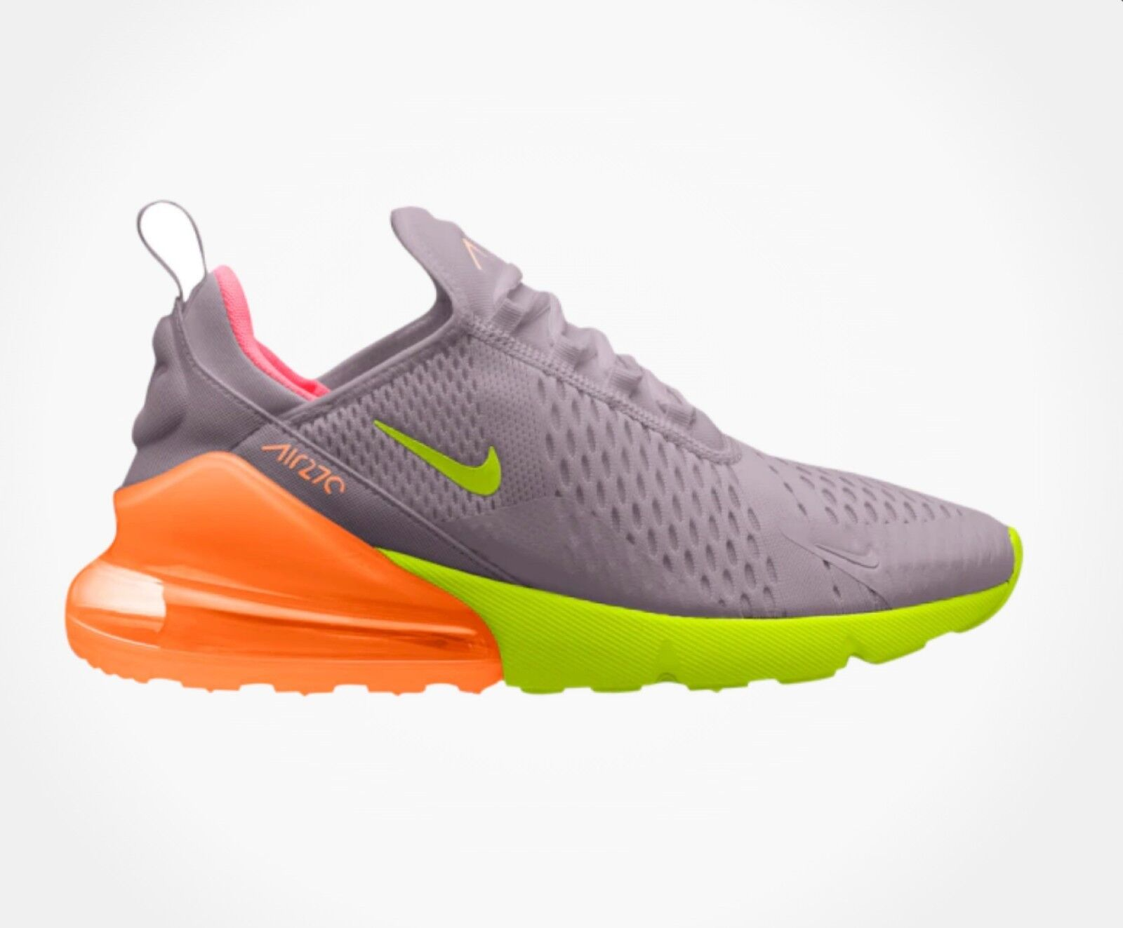 NIKE MEN'S AIR MAX 270 CASUAL SHOES Atmosphere Grey Volt Total orange