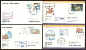 FFC-M82-LUFTHANSA-Caracas-Venezuela-Mahe-Seychelles-Basel-Switzerland-4-pcs