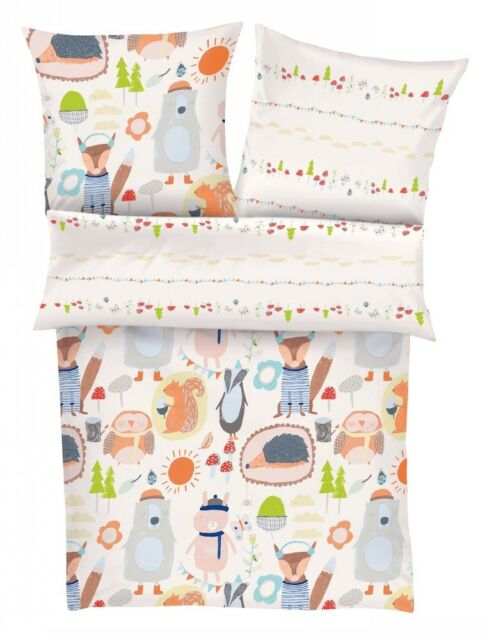 s.Oliver Bettwäsche Junior für Kinder Babybettwäsche Bär Eichhörnchen Unisex
