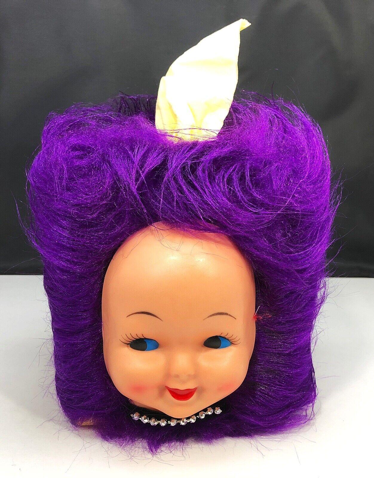 Vintage Doll Head Face Tissue Box Cover Dispenser Purple HAIR w/ Vtg Kleenex Box