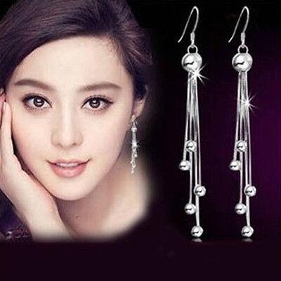 Womens Jewelry  Ear Stud Silver Plate Chain Tassel Eardrop Dangle Earrings