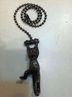 Climbing Cat Fan Pull Chain Antique Brass Finish Fan Pull